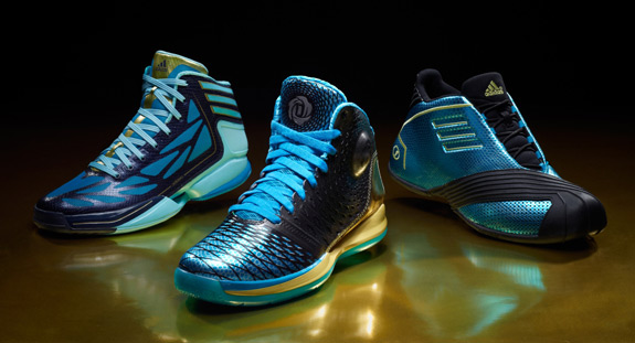 L-R: adizero Crazy Light 2, D Rose 3.5, TMAC 1