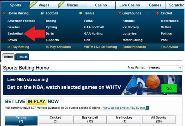 NBA betting at William Hill Ireland